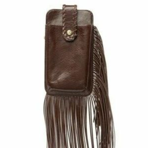 Hobo Plume Leather Fringe Wristlet Clutch Plume ne